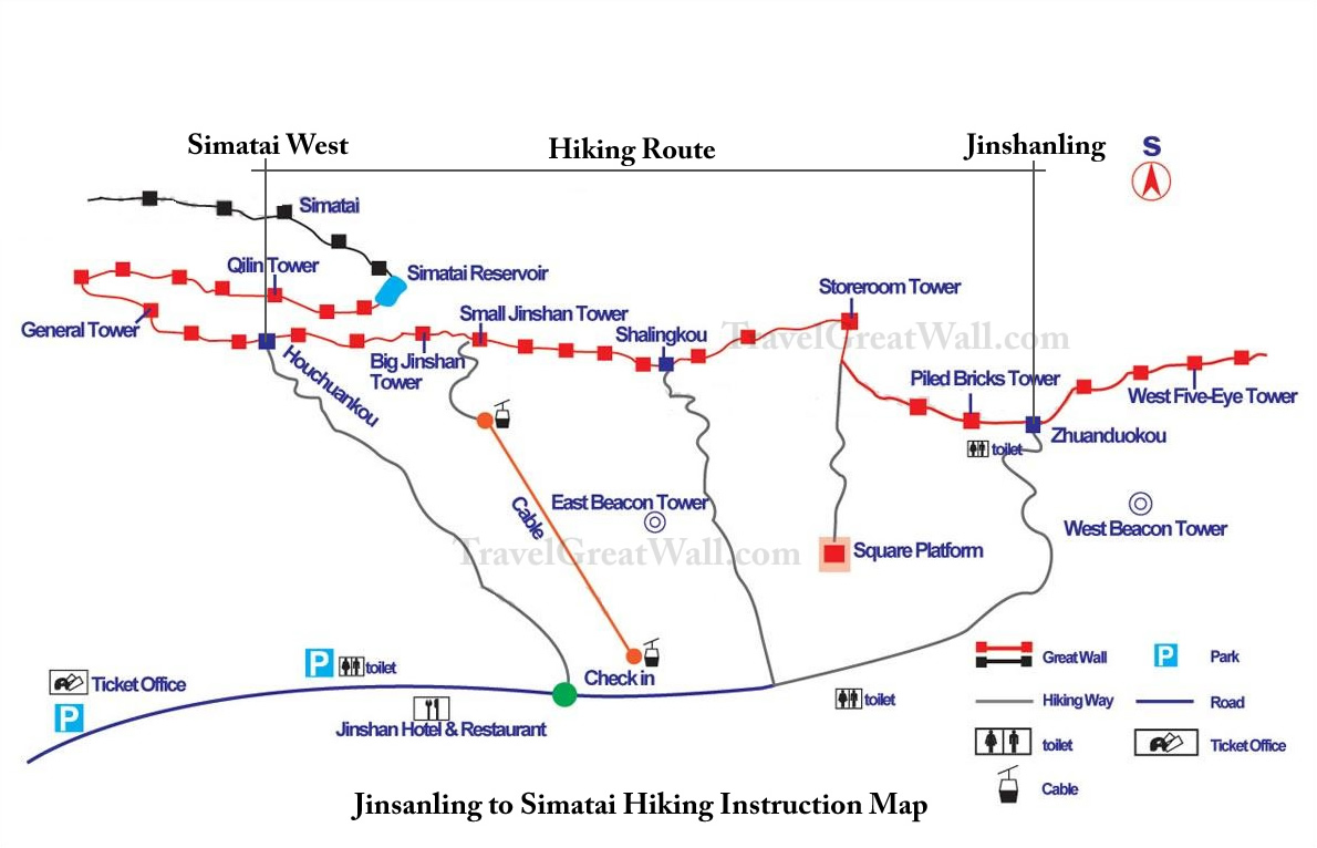 Jinshanling to Simatai Hiking Map